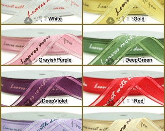 15yd 15mm One Roll Organza Ribbon : lettering one line for gift wrapping, party favors, Christmas wrapping 16 Colors  15mmX13.5M
