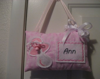 Pacifier Fairy Pillow personalized for your child and will help your child discard their pacifier with the passy fairy pillow.