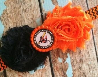 BALTIMORE ORIOLES MLB Baseball shabby flower headband Baby Little Girl Hair Bow - Photo Prop