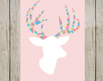 White deer with colorful antlers on a pink background. 5x7 digital printable.  Nursery deer print.