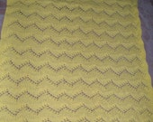 Handknit Lace Baby Blanket, crib size, heirloom baby blanket, yellow baby blanket
