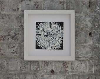Small, framed, acrylic painting on archival, mixed media paper of fireworks at night.