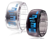 A pair of futuristic unisex watch with blue LED - black and white LED Digital, waterproof