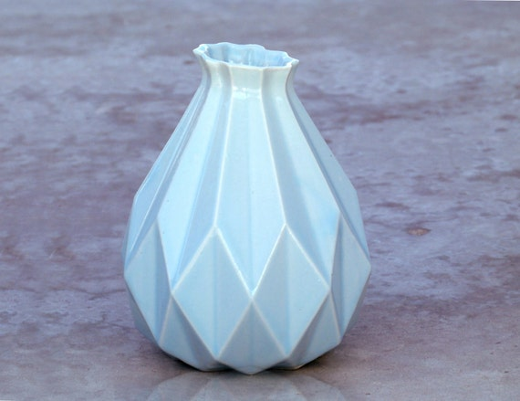 Passover gift Geometric vase Light blue ceramic Origami inspired Gift idea For her & for him Contemporary style Home decor