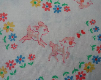"Fat Quarter of  Lecien Old New 30's Bambi Fabric on White Background. Approx. 18"" x 22"" Made in Japan"