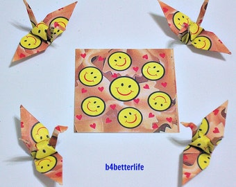 200 sheets SMILIES printed paper kit for Origami Cranes. 4.5cm x 4.5cm