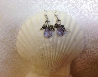 Large lavender Angel pierced earrings