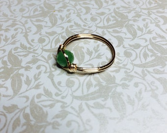 Peridot crystal wire wrapped ring