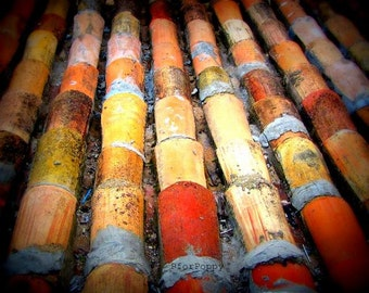 Terracota Roof Tiles / Travel Photography / Home Decor / Wall Art / Red / Orange / Yellow / fpoe / Rustic