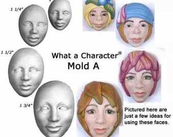 Molda - Four Feminine Face molds,  Sizes 1 inch to 1 3/4 inches tall, by Maureen Carlson