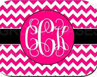 Monogrammed Mouse Pad Hot Pink Chevron