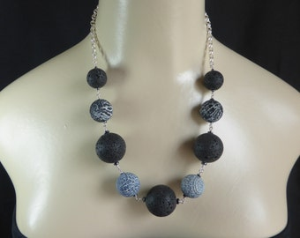 Black Lava Beads and Weathered Agate