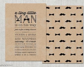 Little Man Baby Shower Invitation, Boy Baby Shower Invite, Mustache Bow Tie Chalkboard Party Kraft Paper Custom Couples Shower Invite PDF