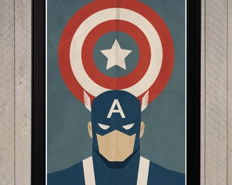 Captain America - Minimalist Retro Poster, Movie Poster, Art Print