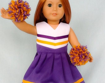 Purple and Gold Cheerleader/Cheer Dress for American Girl/18 inch doll
