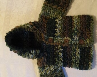 Baby boy hoodie,crochet hooded sweater, camouflage hoodie, made to order