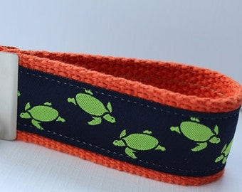 Sea Turtles Key Fob Key Ring/Little Green Turtles on Navy Blue Ribbon