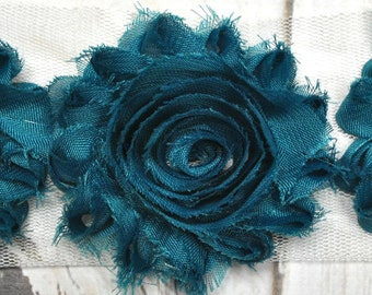 """2.5"""" Teal shabby flower trim - frayed chiffon - rose flowers by the yard - JT Teal"""