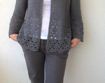 Women Crochet Cardigan/Gray Crochet Jacked/Crochet Cotton Cardigan/Gray Cotton Crochet Cardigan Women