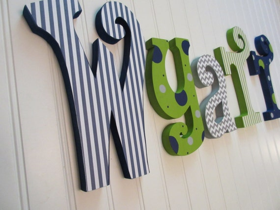 Hanging nursery letters blue green and white nursery for Decorative letters for kids room