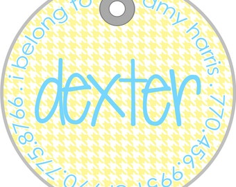 houndstooth  personalized pet tag