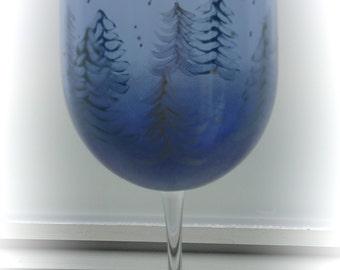 Winter Wonderland hand painted wine glass