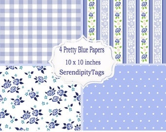 4 Pretty Blue papers