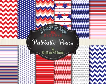 Patriotic Press- Red & Blue digital papers - 12x12 and 8.5x11 300 dpi