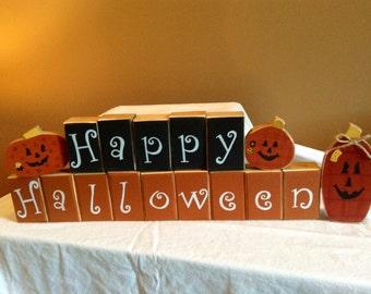 Happy Halloween  wooden block decoration with 3 Pumpkins