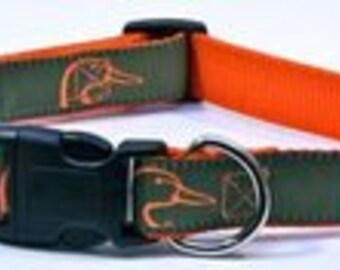 Ducks Unlimited Hunter green dog collar with Neon Orange Ducks
