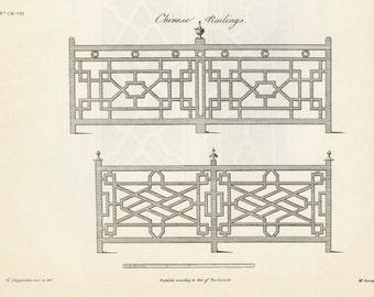 Vintage Chippendale Furniture Architectural Railing Print Engraving c-1938 Interior Design Home Decoration
