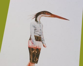 A5 Collage Heron Fashion Print - Eco Friendly Recycled Paper
