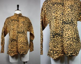 Vintage 80's womens Animal Cheetah Leopard Tiger Print Cotton Shirt MEDIUM to LARGE