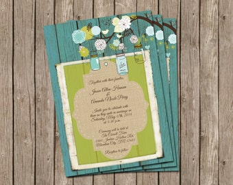 Rustic Wedding Invitation in Turquoise and Lime over Barn Wood with Mason Jars and Flowers - printable 5x7