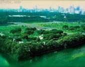 Japanese landscape, Japanese art, Tokyo Lush green Imperial Gardens, Tokyo city skyline, wall decor for women, boudoir wall decor, man cave