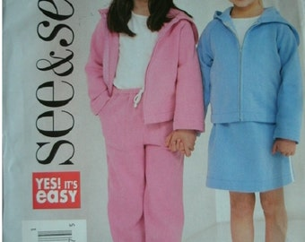 Girls Jacket, Skirt and Pants Girls Sizes 2-3-4-5 Butterick See & Sew Pattern 3947 Rated Easy to Sew UNCUT Pattern