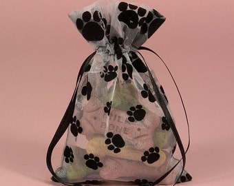 Organza Paw Print Bags, Puppy Party Bags, Kitty Party Bags, Pawprint Bags,