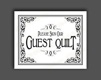 PRINTABLE Please sign our GUEST QUILT Wedding sign - Diy instant download - Traditional black and white Black Tie design