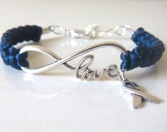 Blue Awareness LOVE Ribbon Charm Bracelet Colon Cancer Arthritis Child Abuse Dystonia Reyes Syndrome Chronic Fatigue Myalgic Encephalopathy