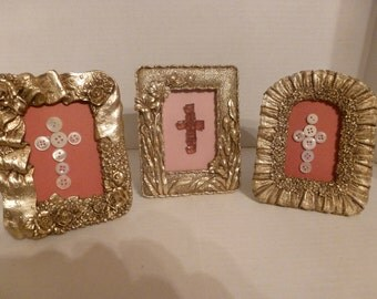 Three Framed Crosses/1 with Amber Beads/2 with Buttons/Cottage Chic (#14084)