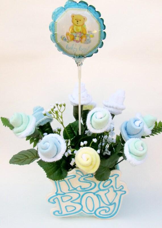 baby shower centerpiece baby boy gift baby boy flower centerpiece
