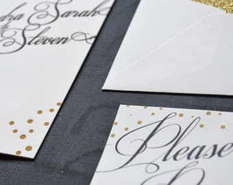Letterpress Wedding Invitation - Gold