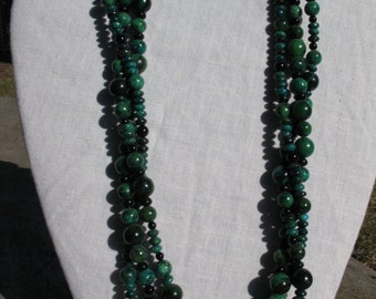"""CHRYSOCOLLA & AGATE NECKLACE 23"""""""