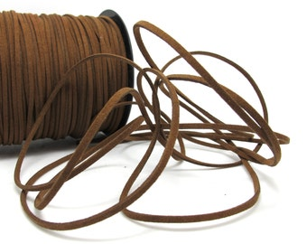 5 Yards 2mm Faux Suede Leather Cord|Brown|Faux Leather String Jewelry Findings|Microfiber Craft Supplies