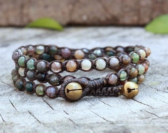 Fancy Jasper  3 Wrap Bracelet On Dark Brown Waxed Cord