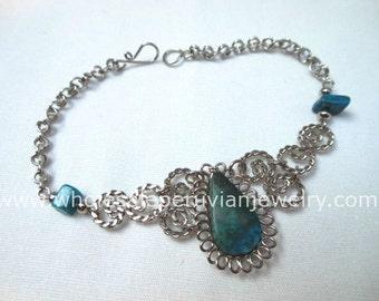 Green Turquoise Teardrop Alpaca Silver Curls Bracelet Peruvian Jewelry - Handmade in Peru