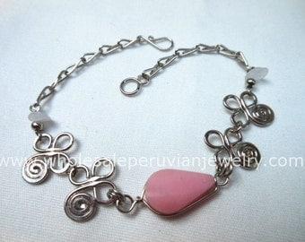 Pink Rose Quartz Teardrop Alpaca Silver Inca Bracelet Peruvian Jewelry - Handmade in Peru
