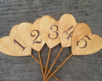 10 Rustic Wedding Heart Table Numbers, Rustic Wedding Decor, Wedding Centerpiece, Wooden Hearts Table Numbers, Rustic Table Decor