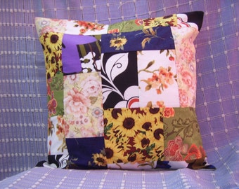 Patchwork Flowers Cushion cover