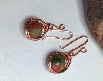 Copper and Unakite Earrings, Drop Earrings, UK Seller